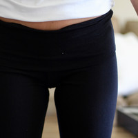 Fold Over Yoga Pant in Black