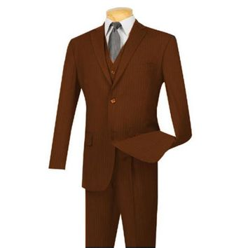 Extra Long For Tall Man Vested Three Piece Two Button Style Pinstripe Suit Brown