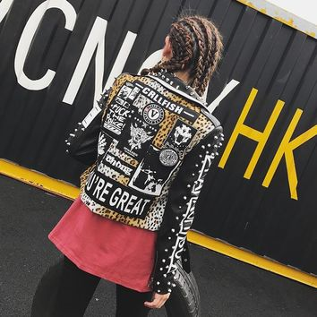 Studded Faux Leather Streetwear Jacket