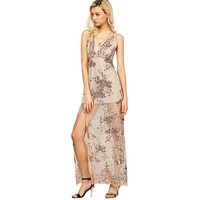 ZAFUL Woman Sequin Dresses Sexy Plunge Neck Embroidery Bodycon Dress Evening Party Elegant Summer Women Beach Mash Maxi