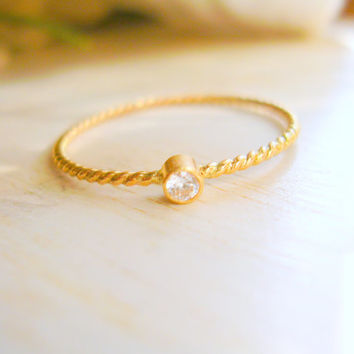 14K Yellow Gold Twisted Rope Diamond Stacking Ring Tiny Diamond Solitaire Ring 10th Year Anniversary Gift -made to order in your finger size