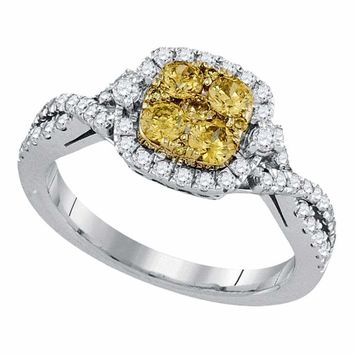 14kt White Gold Womens Round Natural Canary Yellow Diamond Square Cluster Ring 1.00 Cttw
