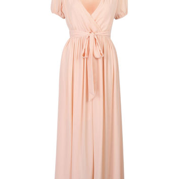 Pink Wrap V-neck Tied Waist Crepe Pleated Ruffle Maxi Dress