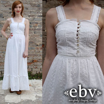 Vintage 70's White Eyelet Hippie Boho Wedding Maxi Dress XS S
