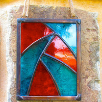 Organic Stained Glass Suncatcher, Just Beachy blue and orange