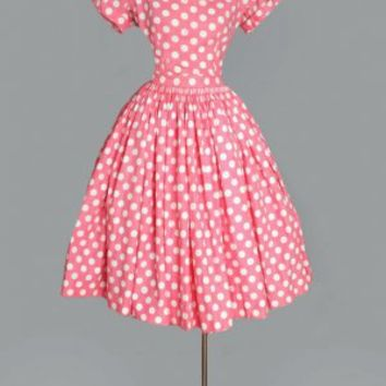 1950's Pink & White Polka Dots Top & Skirt Dress Set- M VINTAGE DRESSES: 1950's & 60's :