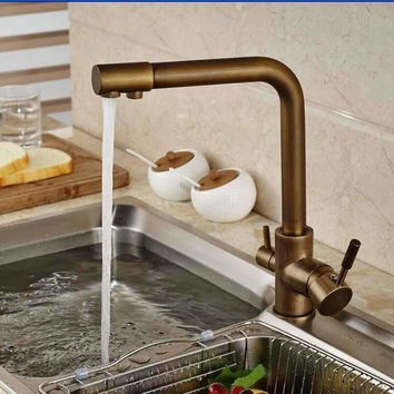 Luxury Antique Brass Kitchen Faucet Vessel Sink Mixer Tap Pure Water Spout Deck Mounted Kitchen Tap