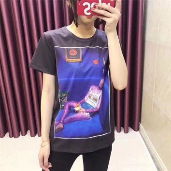 DCCKXT7 Gucci Ignasi Monreal' Women Casual Fashion Oil Painting Portrait Print Short Sleeve T-shirt Tops Tee