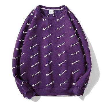 Champion Fashion New More Letter Print Thick Keep Warm Women Men Long Sleeve Top Sweater Purple