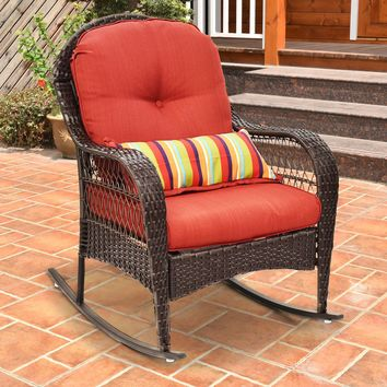 Outdoor Wicker Rocking Chair Porch Deck Rocker Patio Furniture w/ Cushion New