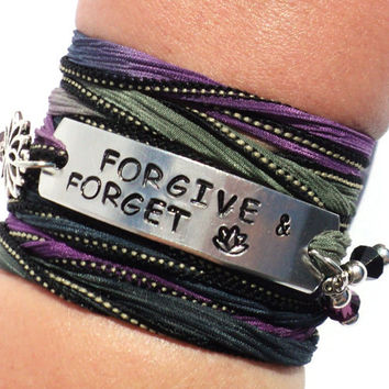 Forgive And Forget Silk Wrap Bracelet Inspirational Let go Move on Jewelry With Meaning Engraved Healing Lotus Gift For Her Under 50 C34
