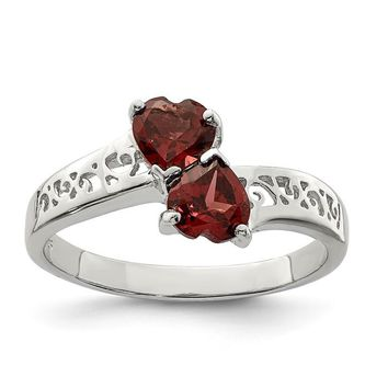 Sterling Silver 2 Garnet Heart Filigree Band Ring