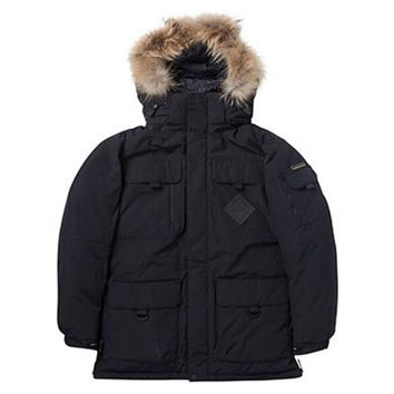 Winter Couple Design Loose Middle Long Thick Down Coat    black   XS
