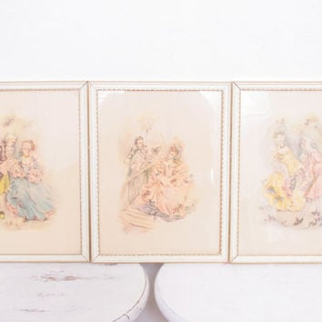 Vintage Trio of Silhouette French High Society Couples Courting Prints with White and Gold Frames, French Country Antiques