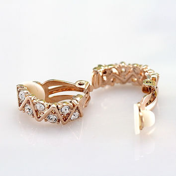 Chinese Jewelry Accessories 18K Gold Plated Platinum Plated Clip Earrings with Austrian Crystals Women without Ear Pierced Holes