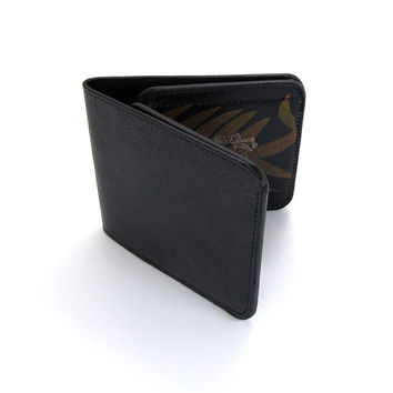 Leather Wallet - Plain Black with Fern