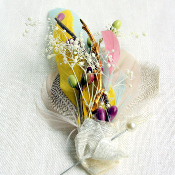 ENGLISH GARDEN Feather Boutonniere / Corsage in Pastel Watercolour Palette - Feathers, Antique Brass Branch and Distressed Ivory Ribbon