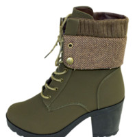 Olive Block Heel Fold Over Lace Up Bootie
