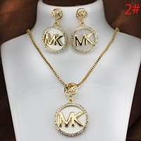 Michael Kors MK Fashion New Letter Diamond Earring And Necklace Two Piece Suit Women