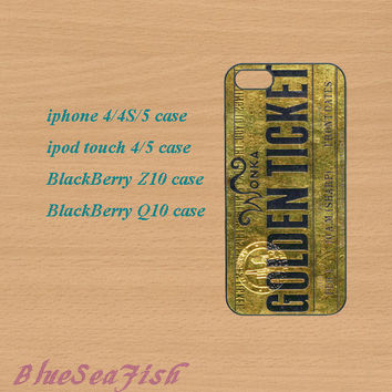 iphone 4 case,iphone 5 case,ipod touch 4 case,ipod touch 5 case,Blackberry z10 case,Blackberry q10--Golden Ticket,in plastic and silicone