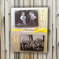 Then and Now Friends Frame - Customize the Colors and Word - 8x10 Base with Two 3.5x5 Horizontal Photos - Wall or Tabletop Decor