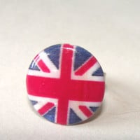 British Union Jack Ring Adjustable Red White Blue Shell British Flag Fashion Jewelry