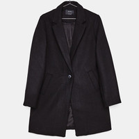 Straight cut wool coat - Coats - Bershka United States