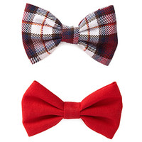 FOREVER 21 Plaid Hair Clip Set Red/Multi One