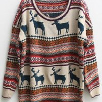 Christmas Deer Round Neck Long Sleeved Sweater  S000406