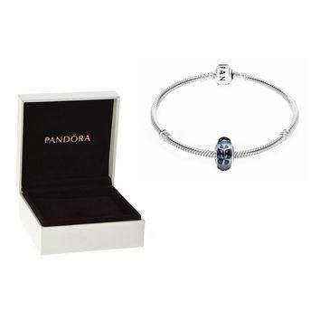 Authentic Pandora S925 Sterling Silver Charm Bracelet & Glass Butterfly Kisses Bead w/