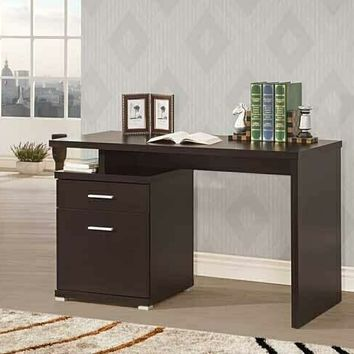 Coaster 800109 Espresso finish wood small office computer desk with file cabinet , drawer and open storage shelf