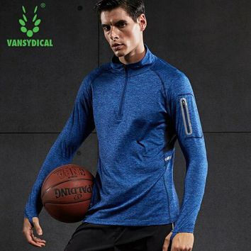 Vansydical Sports Shirts Tops Men's Long Sleeve Running T-shirts Quick Dry Breathable Basketball Jogging Workout Gym Tops