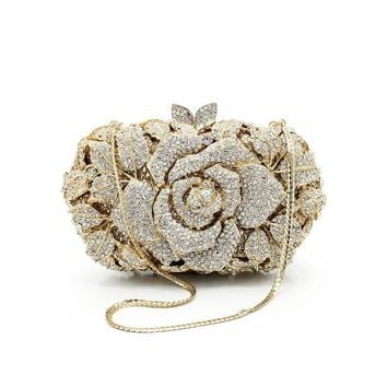 New Crystal Clutch Evening Bags Flower Box Shaped Wedding Party Handbags Women Gold Purses(81170A-G)