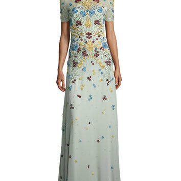 Jenny Packham Floral-Appliqué Short-Sleeve Illusion Gown