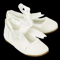 Ivory Ballet Flats Dress Shoes with Grosgrain Ribbon Tie (Baby, Toddler & Girls Sizes)
