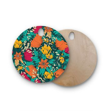 "Bluelela ""Bohemian Botanical Pattern 001"" Green Orange Floral Pattern Vector Illustration Round Wooden Cutting Board"