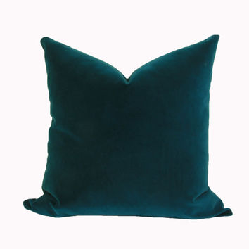 Peacock velvet throw pillow cover 18x18 20x20 22x22 24x24 26x26 Euro sham Lumbar pillow Teal velvet pillow 12x20 12x24 14x26 16x24 16x26