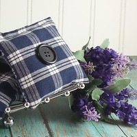 UPCYCLED Men's plaid pajama's, drawer sachet's, Lavender scented