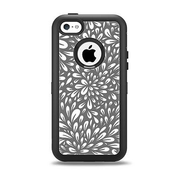 The Gray & White Floral Sprout Apple iPhone 5c Otterbox Defender Case Skin Set