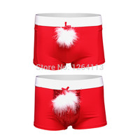 New Year Christmas Underwear Men's Shorts Briefs Feather+Bead Piece Have S-XL red color Sexy Men Briefs Halloween Costumes
