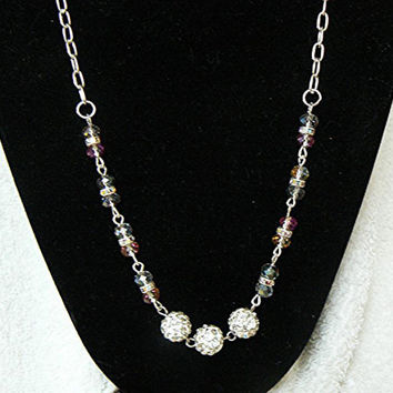 Necklace, Pave Silver Rhinestone Beads, Czech Clear Rainbow Finish, and Rhinestone Rondelles