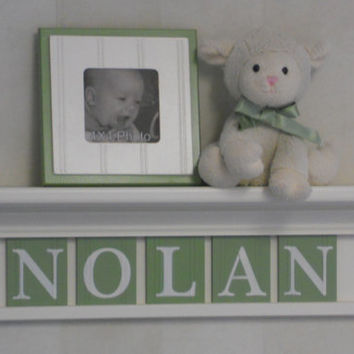 "Green Personalized Baby Boy Nursery Decor 24"" Linen White Shelf with 5 Wooden Wall Letters - NOLAN"