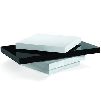 Modern Swivel Coffee Table In Black And White High Gloss Finish