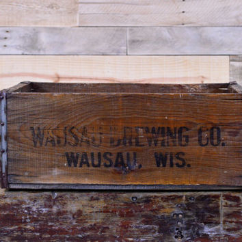 Vintage Beer Crate, Wausau Brewing CO, Wausau Wisconsin, Wood Beer Crate