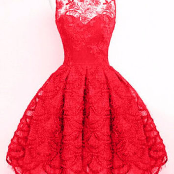Red Floral Lace Sleeveless Pleated Dress