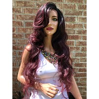 """Red Ombre' Layered Swiss Lace Front Wig 28"""" 