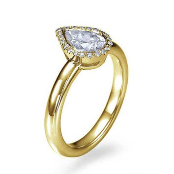 Yellow Gold Halo Pear Shaped Engagement Ring - 1ct Diamond