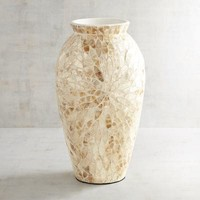 Golden Leaves Capiz Vase