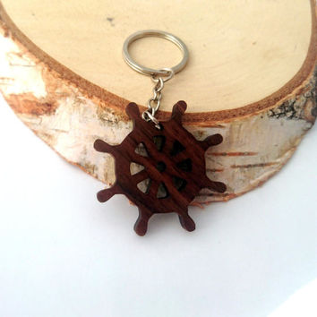 Ship's Wheel Wooden Keychain, Walnut Wood, Nautical Keychain, Environmental Friendly Green materials