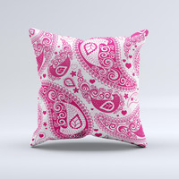 Pink & White Paisley Pattern V421 Ink-Fuzed Decorative Throw Pillow